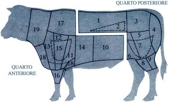 Схема рубки тушу мяса
